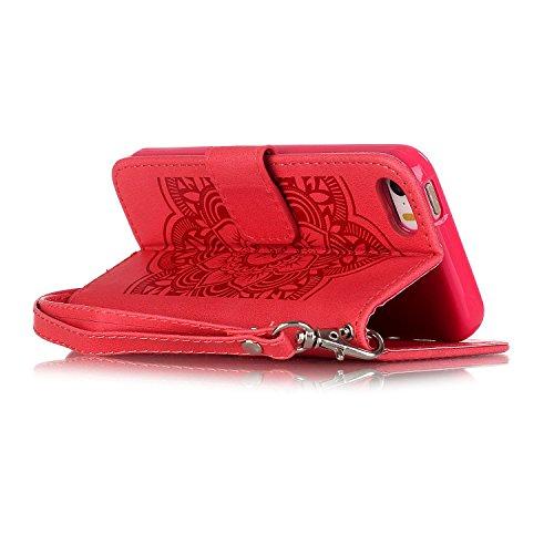 Tasche iPhone 6S, Anfire Apple 6 Hülle in Rot Magnetverschluss Kartenfächer Klapptasche Stil Schutzhülle Handyhülle Apple iPhone 6 / 6S (4.7 zoll) Premium Geldbeutel Kunstleder Flip Taschenhülle Case  rot