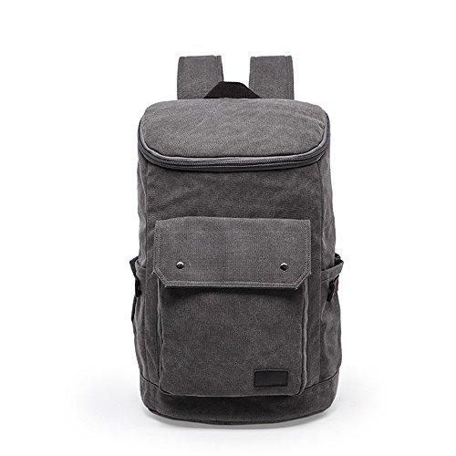 Herren-Schulter Tasche Rucksack Outdoor-Sportarten lässig Leinwand große Kapazität Bergsteigen Tasche einfarbig gray