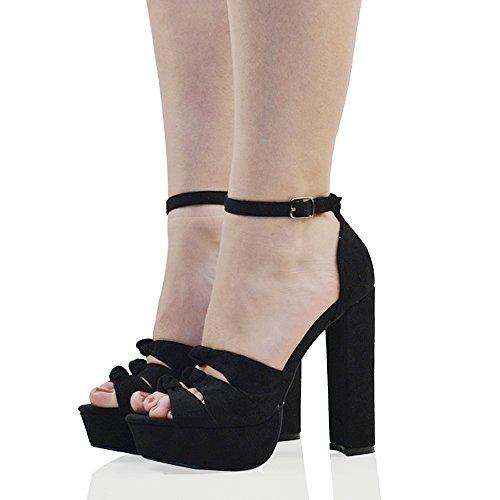 ESSEX GLAM Scarpa Donna Finto Scamosciato Sandalo Cut-Out Peep Toe con Lacci Tacco Alto Plateau Nero Finto Scamosciato