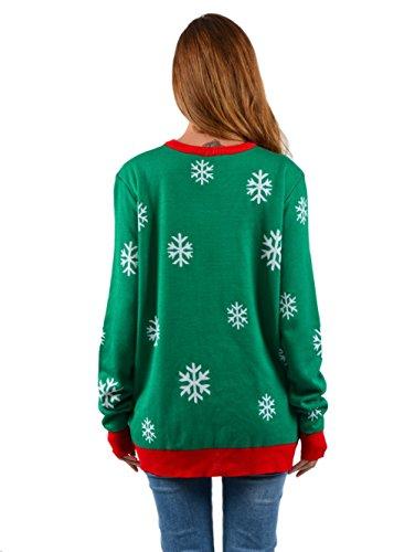 Unisex Weihnachten Pullover,Leapparel Herren und Damen Strickpullover Ugly Christmas Sweater Jumper Fasching Kostüm Falsch Zwei Stück Grün