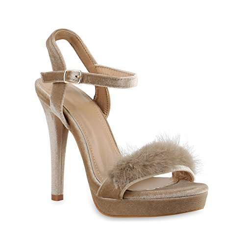 Damen Plateau Sandaletten | Peeptoes Party Schuhe | Pumps Blockabsatz High Heels |Satin Samt Strass Fransen Creme Creme
