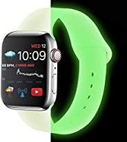 MTAYARA Compatible with Apple Watch Band 38mm/40mm, 42mm/44mm, Shiny / Fluorescent Soft Silicone Replacement S
