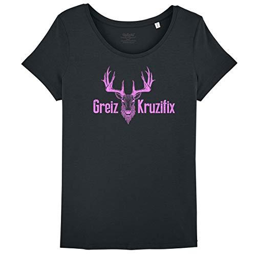 Bayrisches Damen T-Shirt Greiz Kruzifix - Bio Baumwolle XS-XXL Hirsch-Kopf Oktoberfest Wiesn Frauen Österreich Bedruckt Witzig Schwarz-Pink M