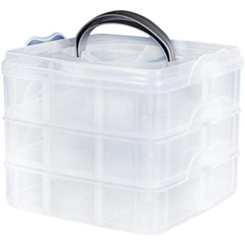 FACILLA®Caja Estuche Transparente Organizador 3 Capas 18 Compartimentos