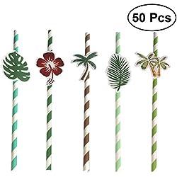 LUOEM 50 unids partido hawaiano pajitas de papel pajitas decorativas hawaianas fiesta de verano a rayas pajuelas decorativas para hawaianas fiesta de verano playa piscina decoraciones
