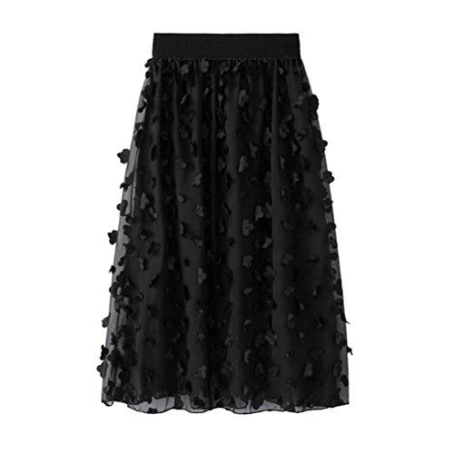 Yiiquanan gonna in tulle vita alta elegante donna a-line lunga gonne vintage classico elastico con decorazione foreale (nero, taglia unica)