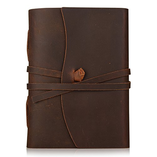 Handgefertigtes Leder Notizbuch im Vintage Look mit Lederband als Journal, Notizbuch, Tagebuch, Reisetagebuch, Skizzenblock und mehr für Damen & Herren. Handliche Größe mit 18x12,8cm und hochwertiges, cremefarbenes Papier