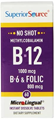 Superior Source Shot Methylcobalamin B12, B6, Folic Acid (60 Instant Dissolve Micro Tablets) by Superior Source