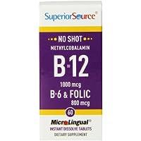 Superior Source No Shot Methylcobalamin B12, B6, Folic Acid (1000mg, 2mg, 800mcg, 60 MicroLingual® Tablets)