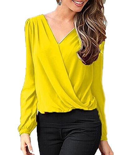 Seide Ketten-print T-shirt (LemonGirl Damen V-Ausschnitt Spitze zurück Shirts Langarm Rüschen Schulter Spitze zurück Chiffon Bluse)