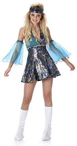 Low Cost Disco Diva Mini Dress with Arm Cuffs, Headband and Boot Covers. Size 16 to 18.