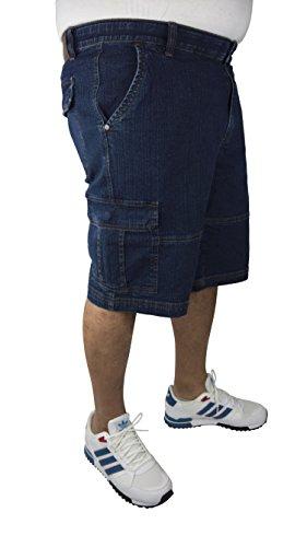Cargo Bermuda mit elastischem Komfortbund, Blau (dark blue stone washed), Gr. 60 - Reyes Shorts