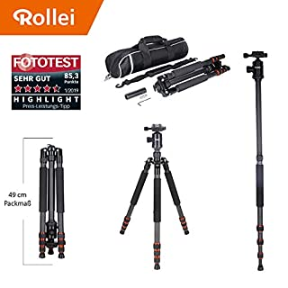 Rollei Allrounder Carbon tripod Black with ball head - compatible with DSLR & DSLM cameras - incl. monopod, Acra Swiss quick release plate & tripod bag