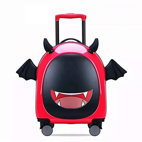 YAzNdom Koffer 3D Dreidimensionale Karikatur Teufel Trägt Wagen Räder 16-Zoll-Koffer Lustige Kreative Kinder Geeignet Für Unterwegs (Color : Red, Size : 23.5×35×47CM)