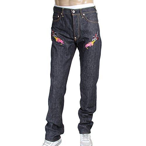 RMC Jeans Herren Silber Bestickt Hungry Dragon Japanische Webkante Denim Jeans rmc3743 Gr. W32, Multi (Bestickt Denim Herren)