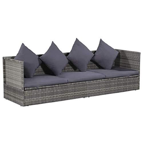 Festnight- Gartensofa Sofabett Lounge-Bett aus Poly Rattan | Gartenmöbel Sofagarnitur mit Sitzpolster 200 x 60 x 58 cm Grau und Dunkelgrau