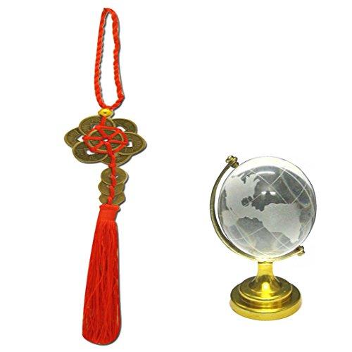 DIVYA Mantra Auto-Dekoration Rückspiegel, der Zubehör Feng Shui Münzen und und Feng Shui Crystal Globe für Erfolg (Anhänger Globe Crystal)