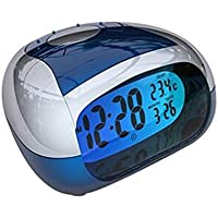 Modo creativo Portable Digital Voice Mute del LED Digital Alarm Clock di ricarica USB del calendario di visualizzazione , blue
