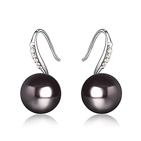 Platinum Plated - 10mm Natural Freshwater Pearl - Austrian Crystal Swarovski Drop Earrings For Women