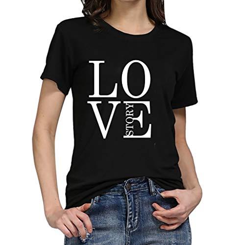 TWIFER Logo Sommer Shirt Damen Mädchen Plus Size Gedruckt Tees Shirt Kurzarm T Shirt Bluse ()