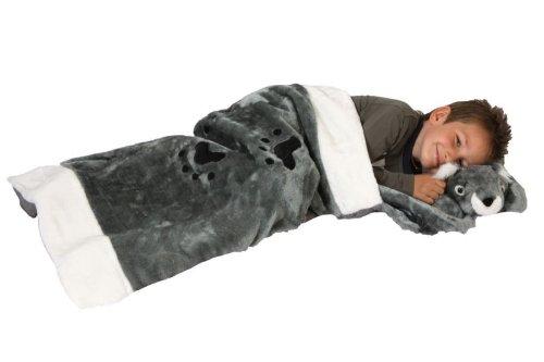 Foxxeo 11007-STD | Deluxe Schlafsack für Kinder Kinderschlafsack Koalaschlafsack Koala Plüsch 117 cm Schlaf Sack Kissen abnehmbar grau abnehmbares Tierschlafsack Tier Tiere Kind Kinder