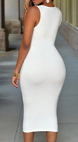 Bigood Robe Fendue Femme Moulant Sans Manche Zip Mariage Cérémonie Soirée Elégant Blanc