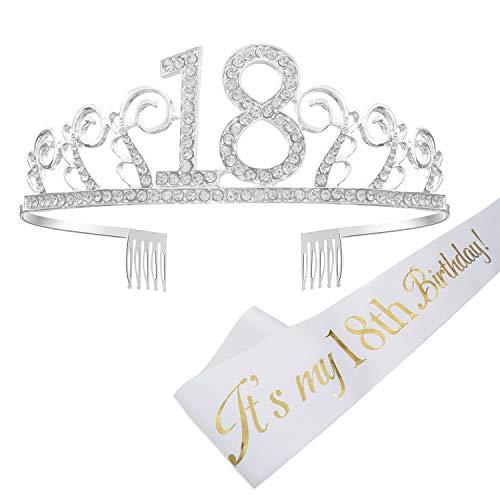 one 18. Geburtstags Kristall Tiara Krone mit Geburtstags Schärpe Birthday Crown Prinzessin Kronen Haar-Zusätze - Silber für Geburtstagsfeiern oder Geburtstagskuchen ()