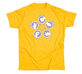 ROCK PAPER SCISSORS LIZARD SPOCK The Big Bang Theory T-Shirt - funny tee, which makes a great Sheldon geek gift. (7 different colours) (Small, Yellow)