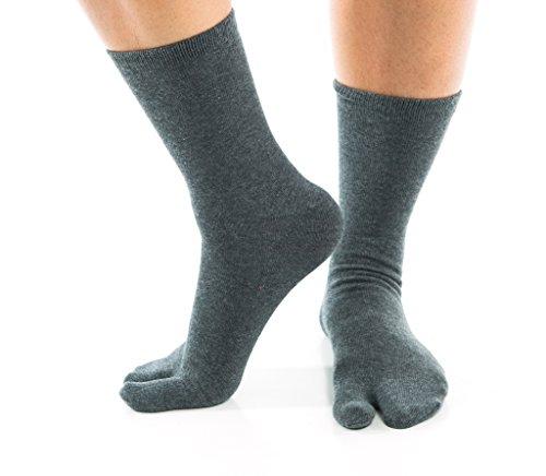 V-Toe - Calcetines estilo japonés para zapatillas de andar por casa multicolor Gray Solid Talla única