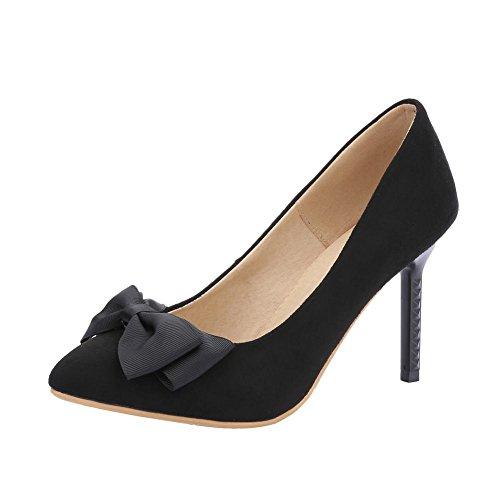 Mee Shoes Damen Stiletto mit Schleife Nubukleder Pumps Schwarz