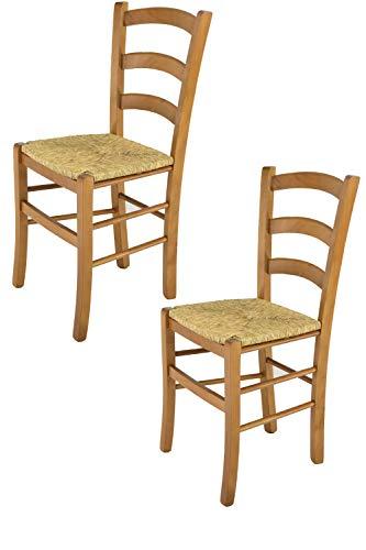 Tommychairs - Set 2 sedie Modello Venice per Cucina e Sala da Pranzo, con Robusta Struttura in Legno di faggio Verniciata Color Rovere e con Seduta in Paglia Vera