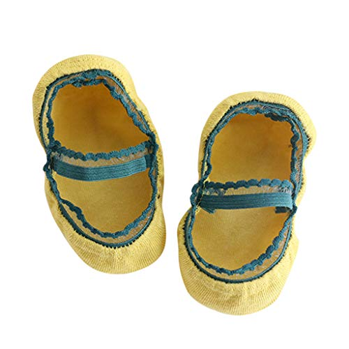 Sloater - Calzini da neonato, in cotone, per bambine, invisibili, stile classico, con pizzo, colore: grigio, bianco, nero, giallo, rosa, verde Gelb M
