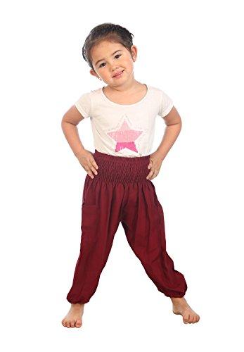 Lofbaz Kinder solide Hippie Zigeuner Kind Piraten Hosen Thai böhmischen Burgund Größe 4T