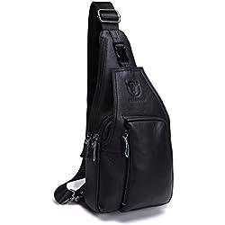 Bolso Hombres de pecho, Charminer Cuero genuino Crossbody Bolso de hombro Bolsos de mochila Mochila Messenger Bag Daypack para el negocio Casual Sport Hiking Travel Brown negro