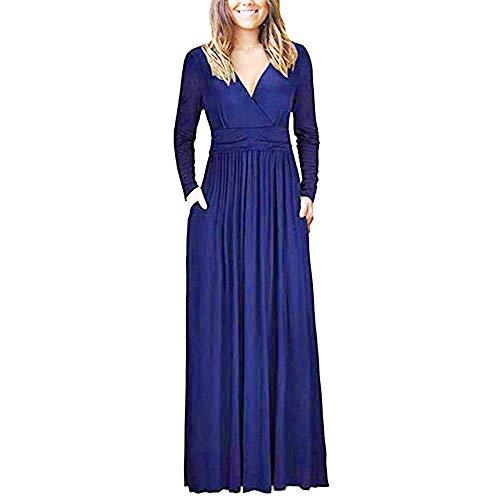 Fascino-M◕‿✦ Damen Langarm Maxikleid Lange Kleid Casual Partykleid Elegant Plain Klieder mit Taschen -