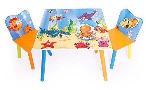 PEGANE Ensemble Table + 2 chaises Enfant avec Motif Poissons
