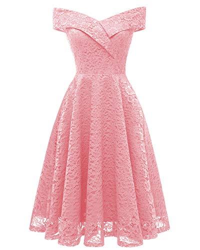 Laorchid Mode Damen Spitze Abendkleider Brautjungfern Kleid Cocktail Party Ärmlos Rosa S