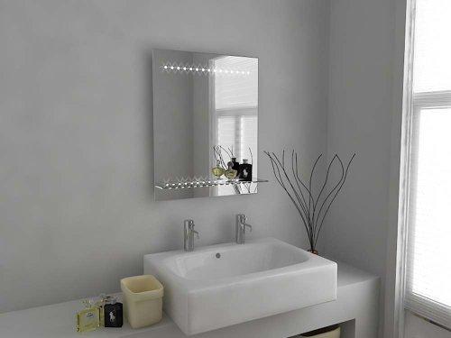 Specchio bagno design moderno con luce led sensore e presa rasoio