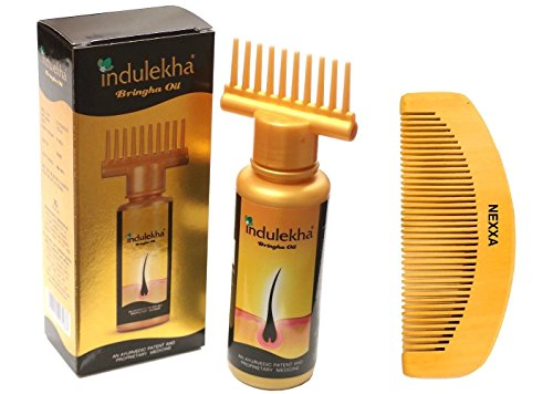 Indulekha bringha Hair Oil Selfie Bottle 100 ml (Pack Of 5) with fabriqué à la main Wooden Comb Traditional Design
