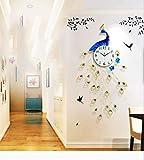 Orologio da parete grande pavone, europeo creativo muto senza zecca suono orologio al quarzo, grande metallo silenzioso casa decorazione orologio da parete in cristallo di diamante