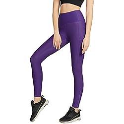 Leggings Mujer Pantalones Deportivos Yoga Leggins Deporte Running Fitness Tallas Grandes Slim Fit Reductores Women Push Up Gym Sport Gimnasio Workout Alta Cintura High Waist Verano Morado XS