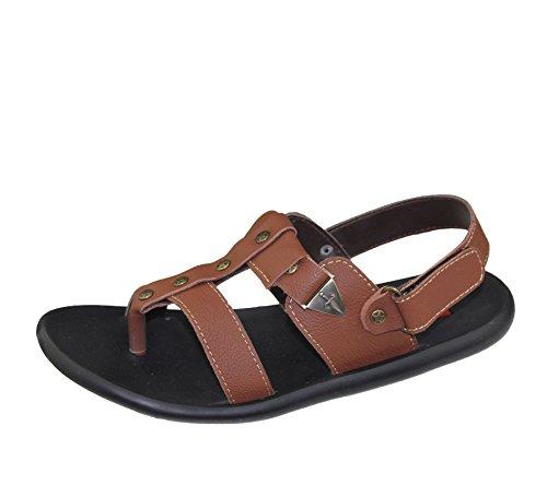 Herren Sandalen Casual Beach Fashion Walking Klettverschluss flach Komfort Schuhe Slipper Größe Braun