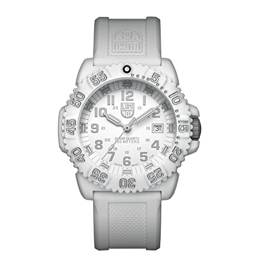 Luminox Navy SEAL Colormark  Men's Quartz watch with White dial featuring LLT Luminox light Technology 44 millimeters Carbon Compound case and White Silicone Strap  XS.3057.WO