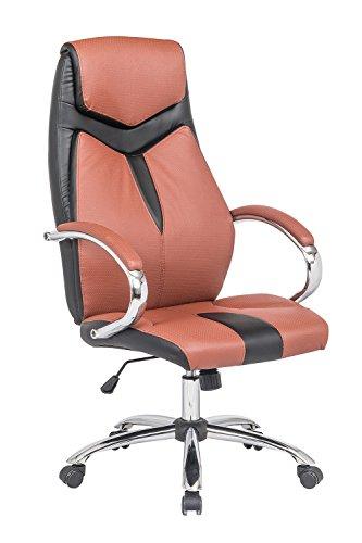Meubletmoi Fauteuil de Bureau Bicolore Noir/Ocre - Chaise réglable Ergonomique Ultra Confortable - accoudoirs chromés - Design Style baquet Sport - AIR Soft