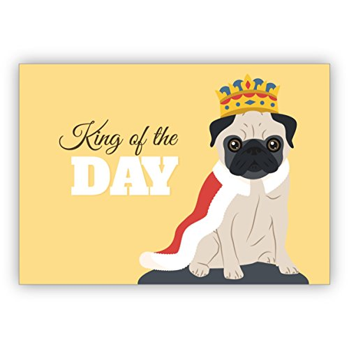 Lustige Geburtstagskarte mit Mops als König auch als motivierende Grußkarte für ihn: King of the Day
