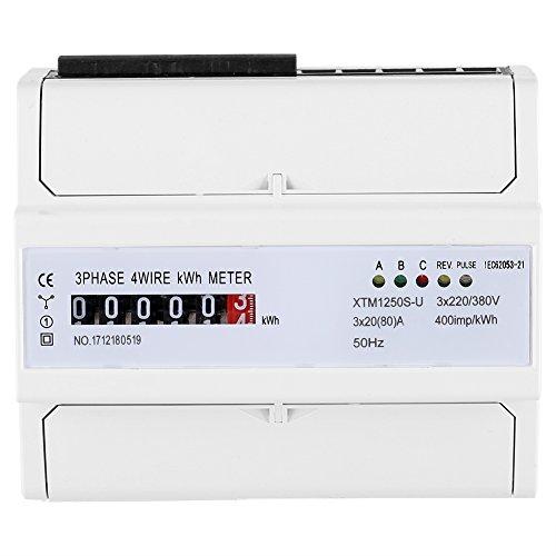 Multifunktions Energiemessgerät XTM1250S-U Digitales 3-Phasen 4-Draht KWh Meter DIN Schienen 6-Stelliges Stromzähler 20 (80) A