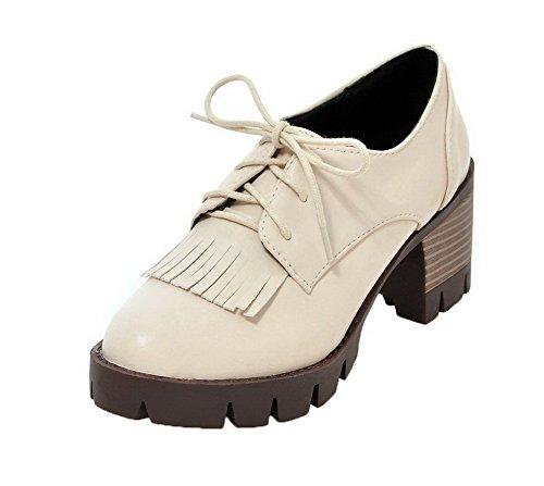 VogueZone009 Femme Lacet Rond à Talon Correct Couleur Unie Chaussures Légeres Beige