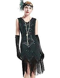 f278f9a5e4697c BABEYOND Damen Flapper Kleider Voller Pailletten Retro 1920er Jahre Stil  V-Ausschnitt Great Gatsby Motto Party…