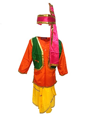 KFD Punjabi Boy fancy dress for kids,Indian State Traditional Wear Costume for Annual function/Theme party/Competition/Stage Shows/Birthday Party Dress