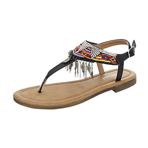 Ital-Design Chaussures Femme Sandales Bloc Havaianas Tongs FitFlop noir BM201-1